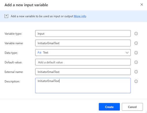 Add a new input variable