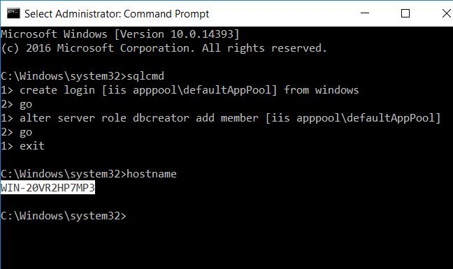 Enter hostname command