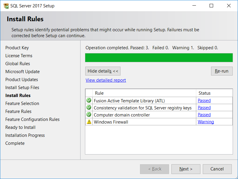 SQL Server Install Rules