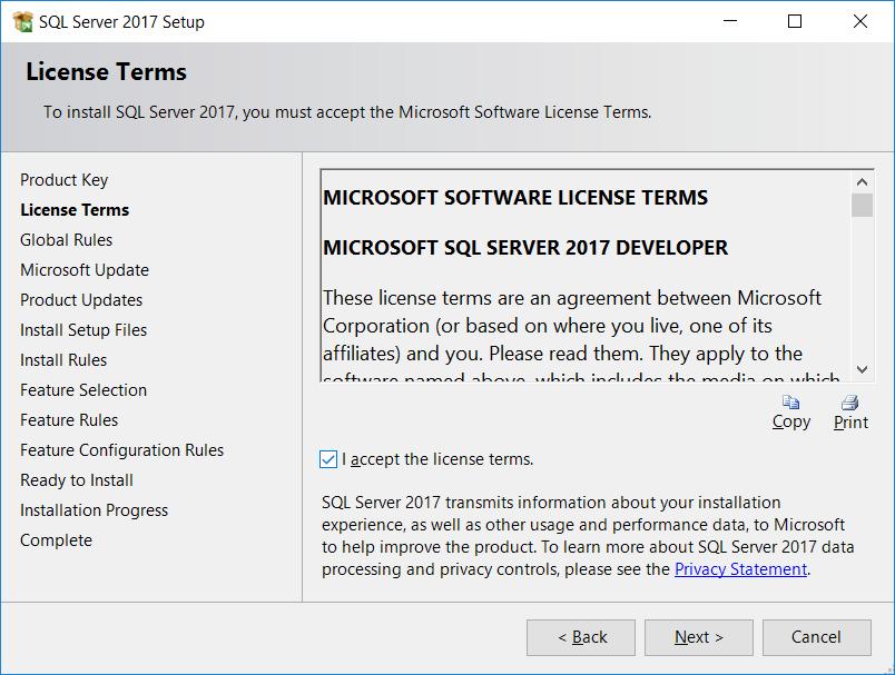SQL Server License terms