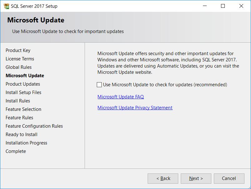 SQL Server Microsoft Update