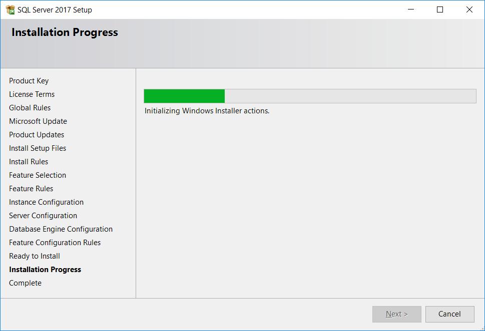 SQL Server. Installation Progress