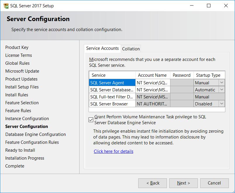 SQL Server. Server configuration