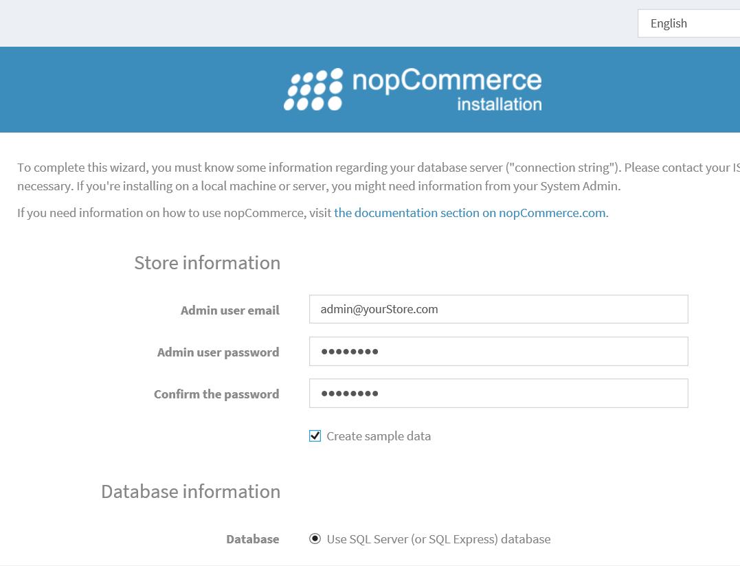 nopCommerce store information